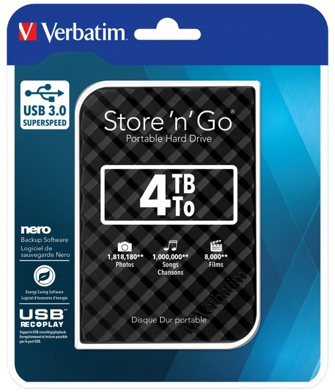 Verbatim, 4TB, 2.5, USB, 3.0, Black, Store, n, Go, Disk, Grid, Design,