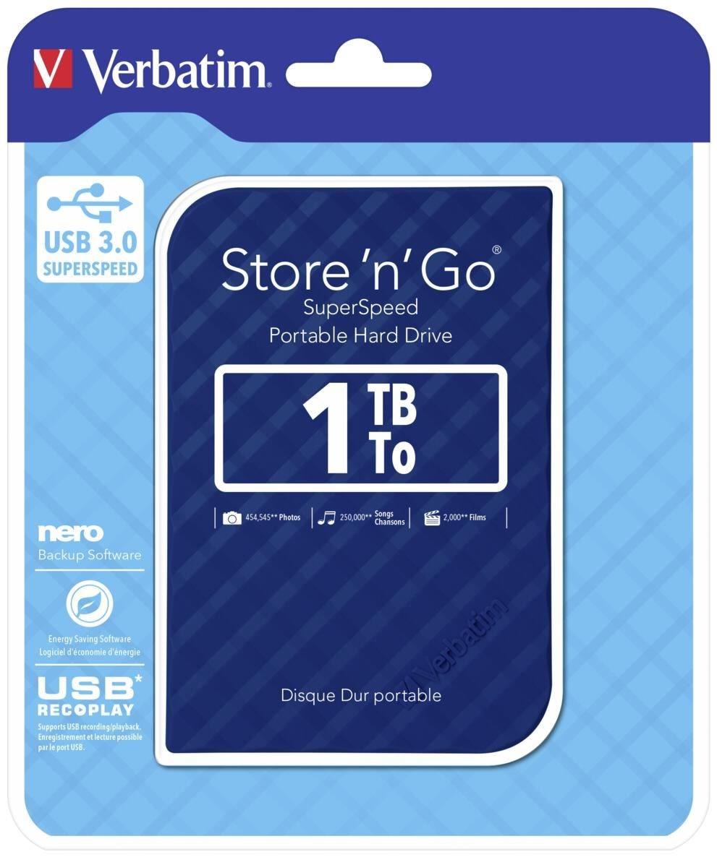Verbatim, 1TB, 2.5, USB, 3.0, Blue, Store, n, Go, HDD, Grid, Design,