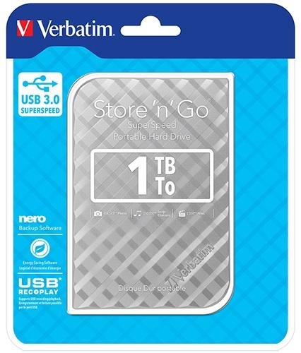 Verbatim, 1TB, 2.5, USB, 3.0, Silver., Store, n, Go, HDD, Grid, Design,