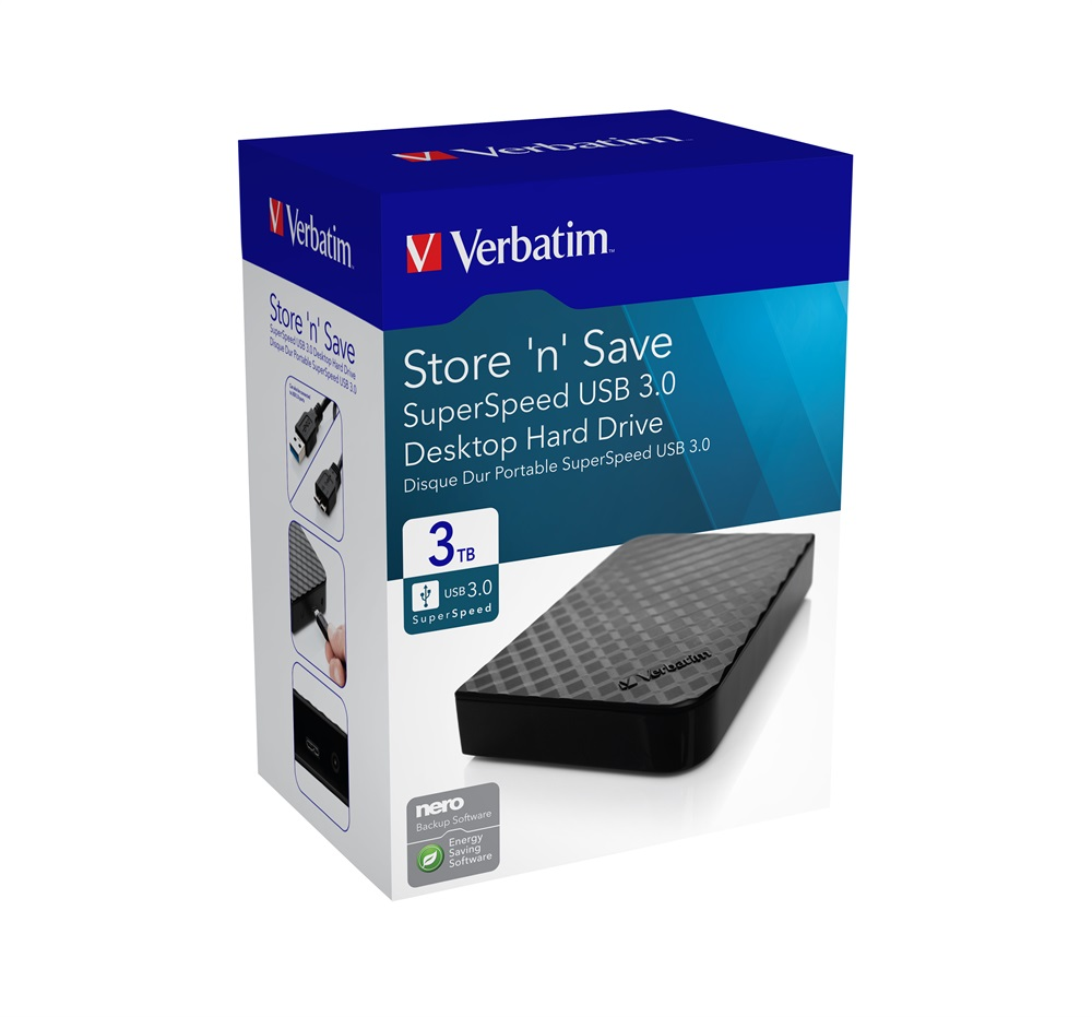 Verbatim, 3.5, USB, 3.0, Store, n, Save, Desktop, HDD, Grid, Design, 3TB, (LS),