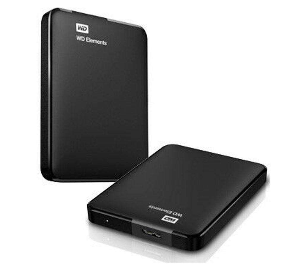 Western, Digital, WD, Elements, 1TB, USB, 3.0, Portable, External, Hard, Drive, -, Slim, Light, Durable, Shock, Proof, Black, Plug, &, Play,