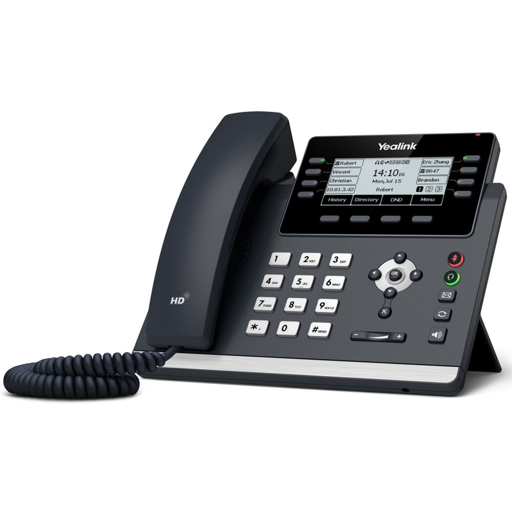 Yealink, (SIP-T43U), 12, Line, IP, phone, 2.7, 192x64, pixel, graphical, LCD, with, backlight,