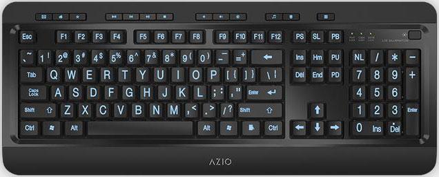 AZIO, KB505U, Vision, Large, Print, Tri-Color, Illuminating, Ergonomic, Wired, USB, Keyboard, -, Multimedia/Backlight, Red/Purple/Blu,