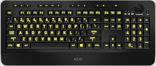 AZIO, KB506, Vision, Large, Print, Five-Color, Illuminating, Ergonomic, Wired, USB, Keyboard, -, Multimedia/Backlight, Red/Purple/Blu,