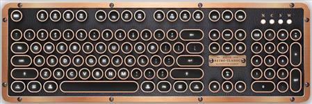 AZIO, RETRO, CLASSIC, BT, Vintage, Typewriter, Bluetooth, &, USB, Backlit, Mechanical, Keyboard, -, Alloy, Leather, Trim, ARTISAN, -, USB-,