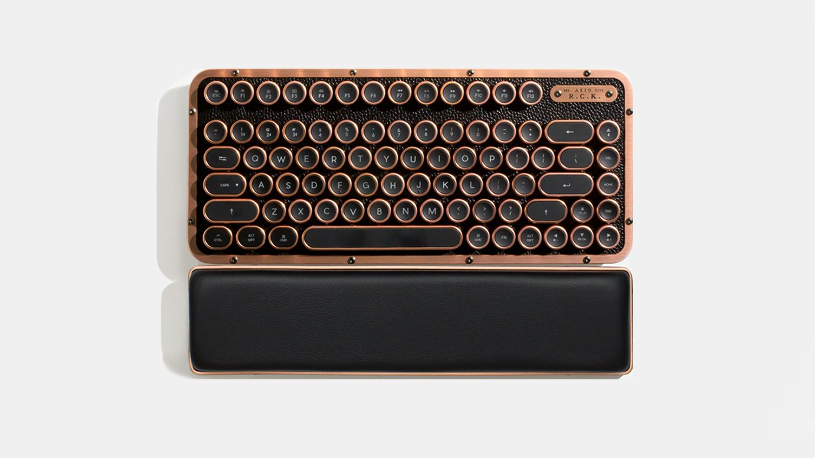 AZIO, RETRO, CLASSIC, COMPACT, Vintage, Typewriter, Bluetooth, &, USB, Backlit, Mechanical, Keyboard, -, Alloy, Leather, Trim, ARTISAN, -,