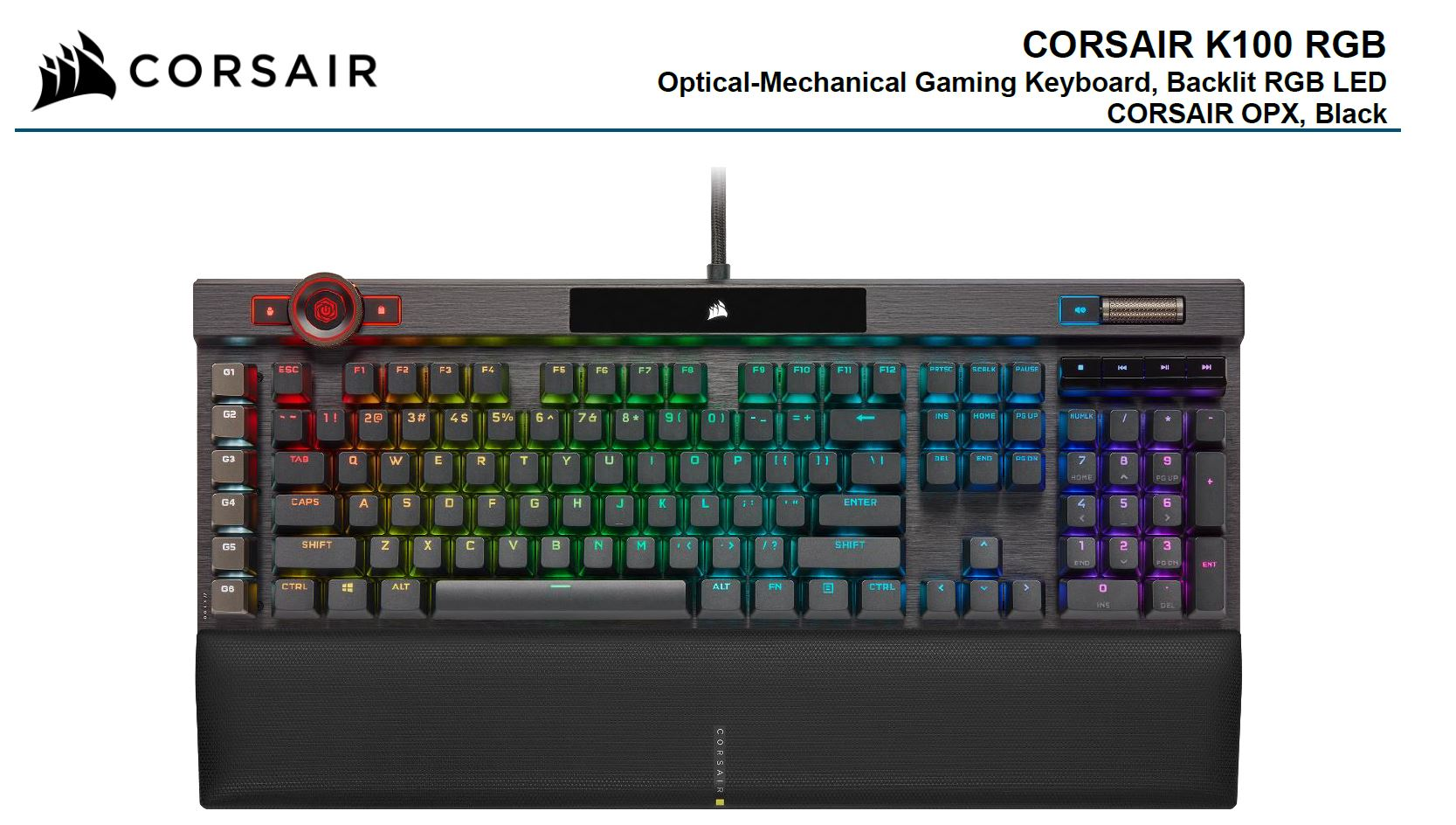 Corsair, K100, RGB, Cherry, Corsair, OPX, Switch, AXON, 44-Zone, RGB, PBT, Double-Shot, Keycaps, Black, Mechanical, Gaming, Keyboa,
