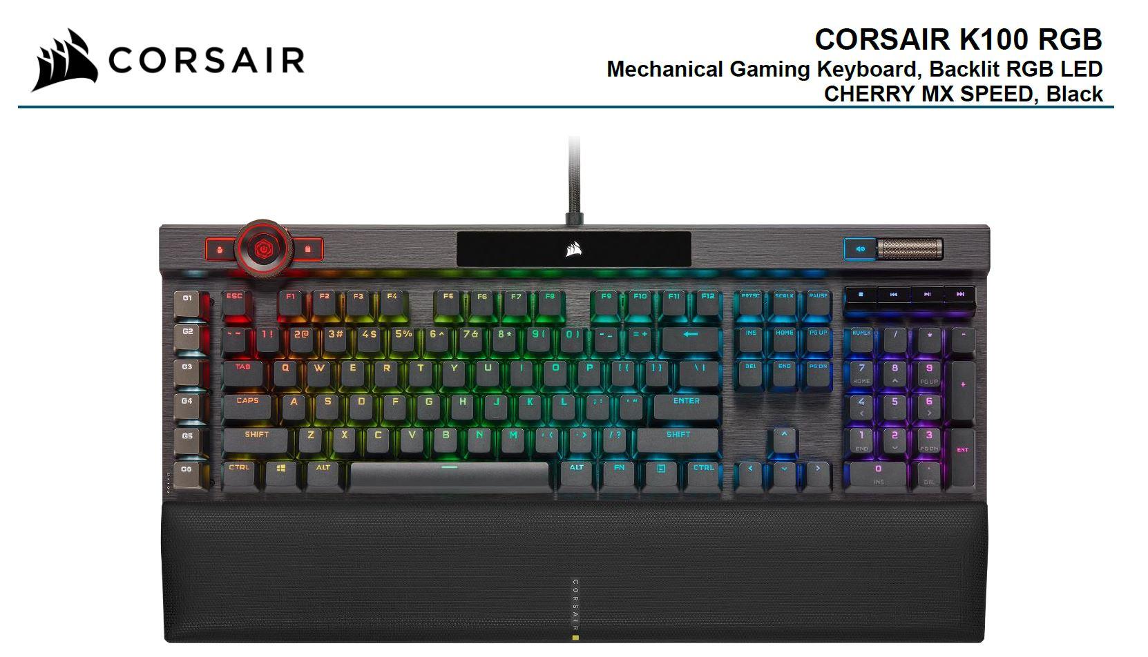 Corsair, K100, RGB, Cherry, MX, SPEED, AXON, 44-Zone, RGB, PBT, Double-Shot, Keycaps, Black, Mechanical, Gaming, Keyboard,