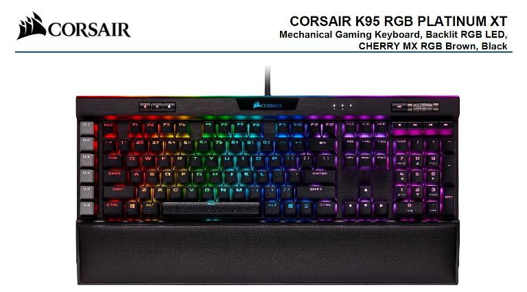 Corsair, K95, RGB, PLATINUM, XT, Cherry, MX, Brown, Dynamic, Per-Key, RGB, Backlighting, with, 19-Zone, LightEdge, Mechanical, Gaming,
