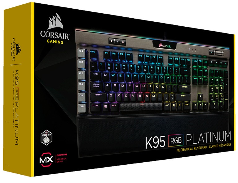 Corsair, K95, RGB, PLATINUM, Cherry, MX, SPEED, Gunmetal, Silver, Trim, 18, G, keys, and, RGB, color, Mechanical, Gaming, Keyboard,