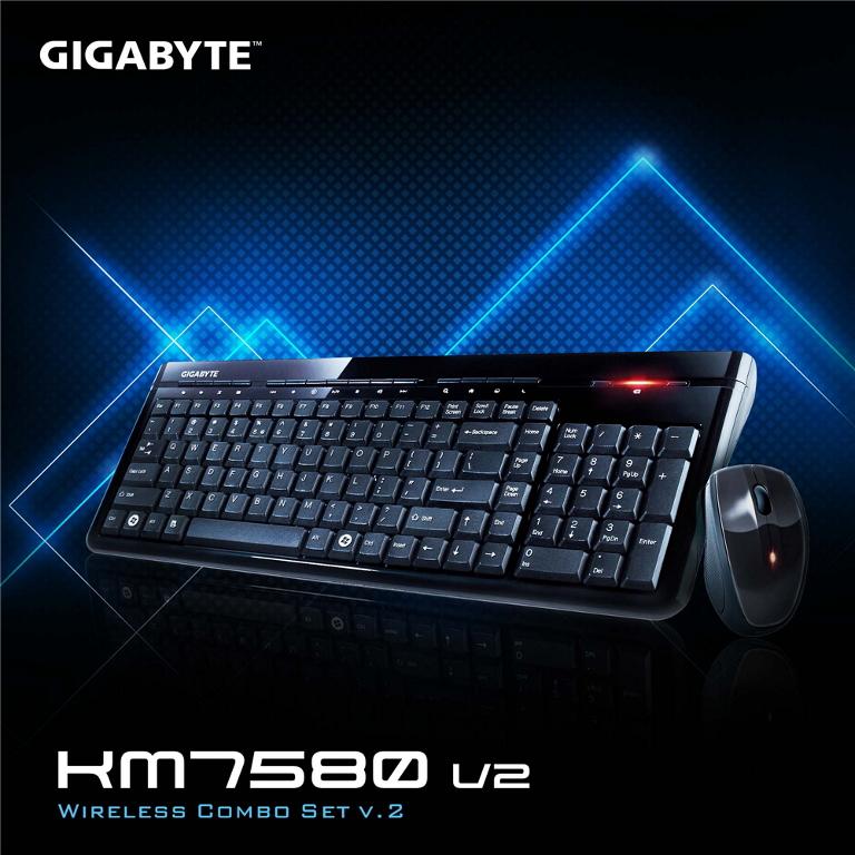 Gigabyte, KM7580, V2, USB, 2.4GHz, Wireless, Keyboard, &, Mouse, Combo, Spill, Resistant, 1600DPI, Adjustable, Portable, nano, receiver,