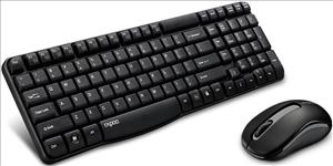RAPOO, X1800S, 2.4GHz, Wireless, Optical, Keyboard, Mouse, Combo, Black, -, 1000DPI, Nano, Receiver, 12m, Battery,