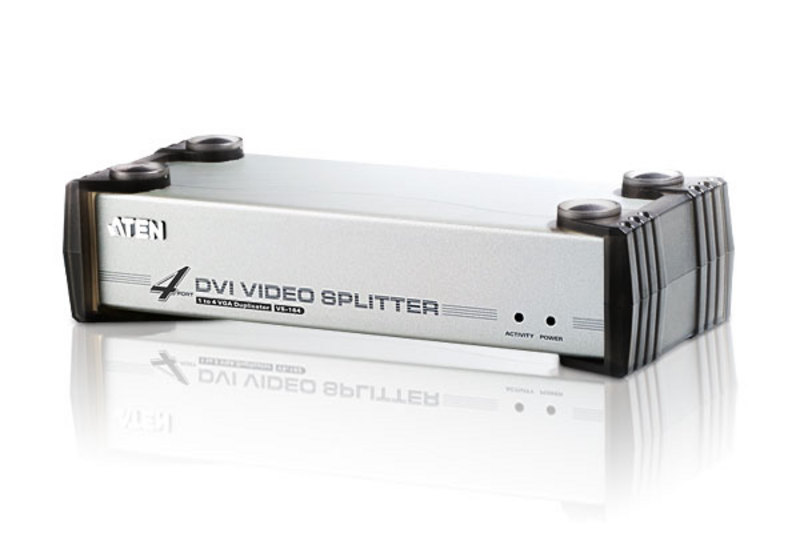 Aten, Video, Splitter, 4, Port, DVI, Video, Splitter, w/, Audio, 1920x1200@60Hz, Cascadable, to, 3, Levels, (Up, to, 64, Outputs),