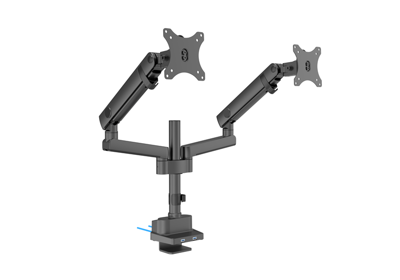 Brateck, Dual, Monitor, Aluminum, Slim, Pole, Held, Mechanincal, Spring, Monitor, Arm, for, most, 17, ~32, Monitors,