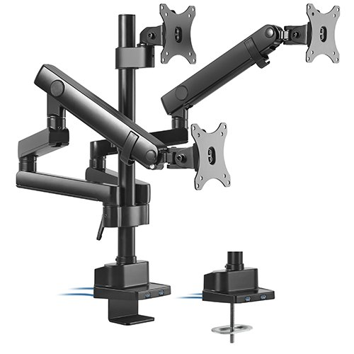 Brateck, Triple, Monitor, Aluminum, Slim, Pole, Held, Mechanical, Spring, Monitor, Arm,