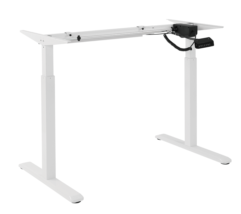 Brateck, 2-Stage, Single, Motor, Electric, Sit-Stand, Desk, Frame, with, button, Control, Panel-White, Colour,
