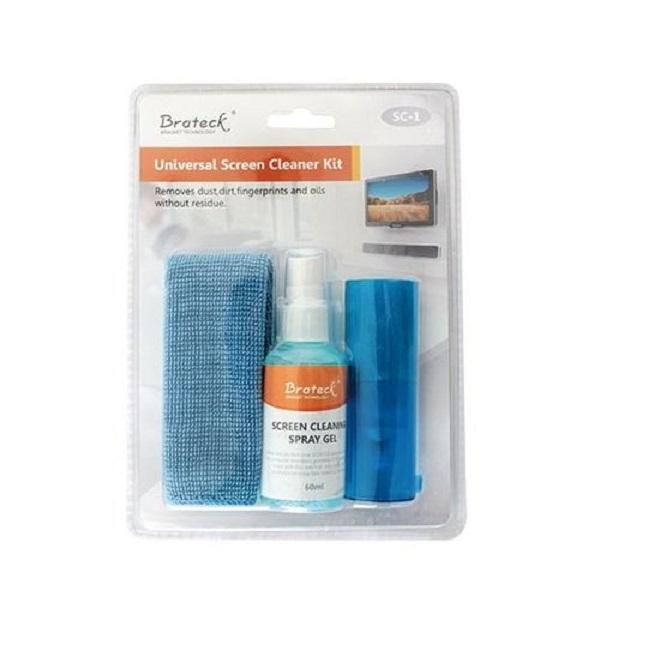 Brateck, 3-In-1, Screen, Cleaner, Kit, 1, x, 60ml, Screen, Cleaner, +, 1, x, 200x200mm, Pearl, Cloth, +, 1, x, Soft, Brush,