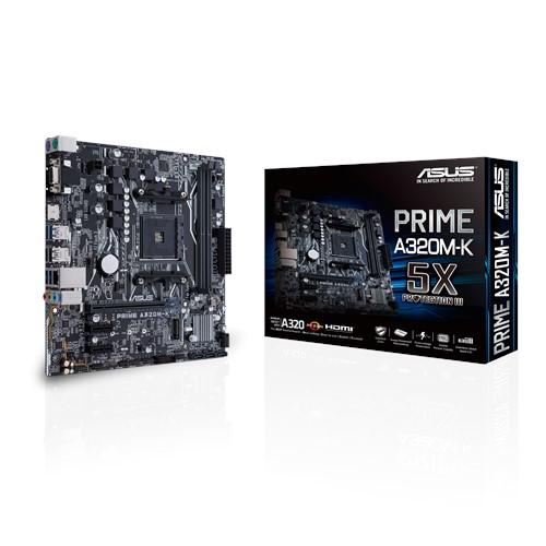 ASUS, Prime, A320M-K, AM4, uATX, MB, 2xDDR4, 3xPCe, 1xM.2, 4xSATA, 4xUSB3.1, 1xD-Sub, 1xHDMI,