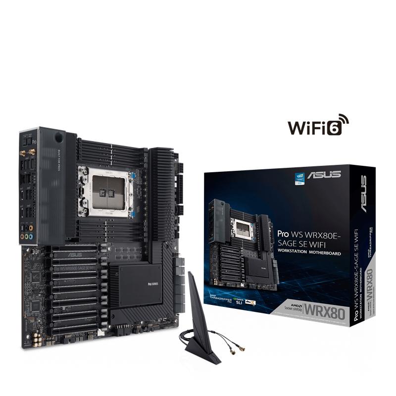 ASUS, AMD, PRO, WS, WRX80E-SAGE, SE, WIFI, Workstation, MB, Extended, ATX, Intel, Dual, 10G, LAN, WIFI6, BT5, PCIe4.0, x16, slots, 3, x,