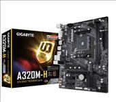 Gigabyte, GA-A320M-H, Ryzen, AM4, mATX, MB, 2xDDR4, 3xPCIE, M.2, HDMI, DVI, RAID, Realtek, GbE, LAN, 4xSATA3, 4xUSB3.1, ~GA-A320M-HD2,
