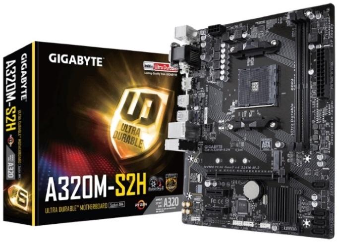 Gigabyte, GA-A320M, S2H, Ryzen, AM4, mATX, MB, 2xDDR4, 3xPCIE, M.2, HDMI, DVI, VGA, RAID, Realtek, GbE, LAN, 4xSATA3, 3xUSB3.1, ~GA-A320M-H,