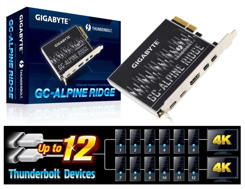 Gigabyte, Alpine, Ridge, V2, Dual, Thunderbolt, 3, Card, for, H270, Z270, Z370, X299, Series, 3, Ports, USB-C, 40, Gb/s, DisplayPort, 1.2, 4K,