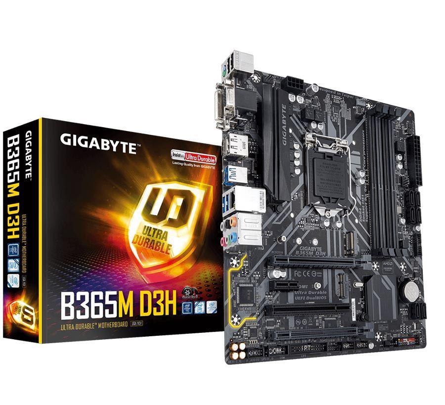 GIGABYTE, B365M, D3H, MB, 1151, 4xDDR4, 6xSATA, 1xM.2, USB-C, uATX, 3YR,