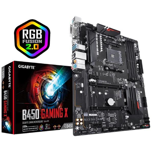 Gigabyte, B450, GAMING, X, Ryzen, AM4, ATX, Motherboard, 4xDDR4, 4xPCIE, 1xM.2, DVI, HDMI, RAID, GbE, LAN, 6xSATA, 4xUSB3.1, CF, RGB,