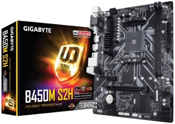 Gigabyte, B450M, S2H, Ryzen, AM4, mATX, Motherboard, 2xDDR4, 3xPCIE, 1xM.2, VGA, DVI, HDMI, RAID, GbE, LAN, 4xSATA, 4xUSB3.1, 6xUSB2.0, Qua,