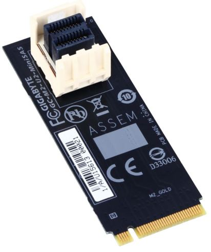Gigabyte, M2-U2-MINISAS, M.2, to, U.2, Mini, SAS, Add-on, Card, Adapter, for, Intel, 2.5, SSD, NVMe, PCIe, 3.0, Gen3x4, SFF-8639,