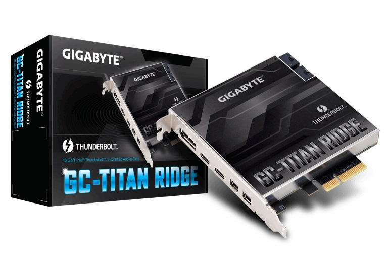Gigabyte, TITAN, Ridge, rev1, Dual, Thunderbolt, 3, Card, for, Z390, H370, B360, Z370, Series, 3, Ports, USB-C, 40, Gb/s, DisplayPort, 1.2, 4,
