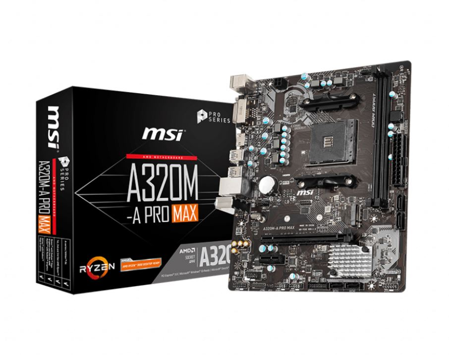 MSI, A320M-A, PRO, MAX, AMD, mATX, Motherboard, -, AM4, Ryzen, 2xDDR4, 2xPCI-E, 1xM.2, 6xUSB3.2, 6xUSB2.0, 1xDVI-D, 1xHDMI,