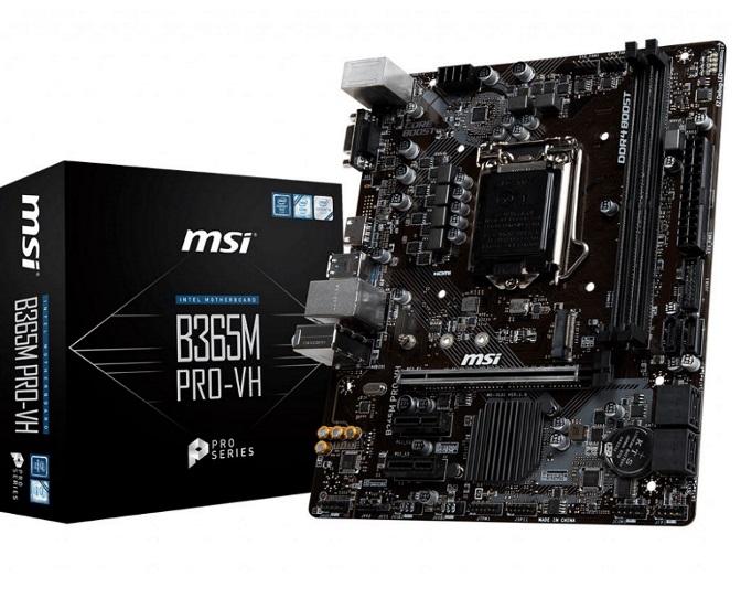 MSI, B365M, PRO-VH, LGA1151, 9Gen, mATX, MB, 2xDDR4, 1xPCI-E, 3.0x16, slot, VGA, HDMI, M.2, 6xSATA, 6xUSB3.1, 6xUSB2.0, ~B360M, PRO-VH,