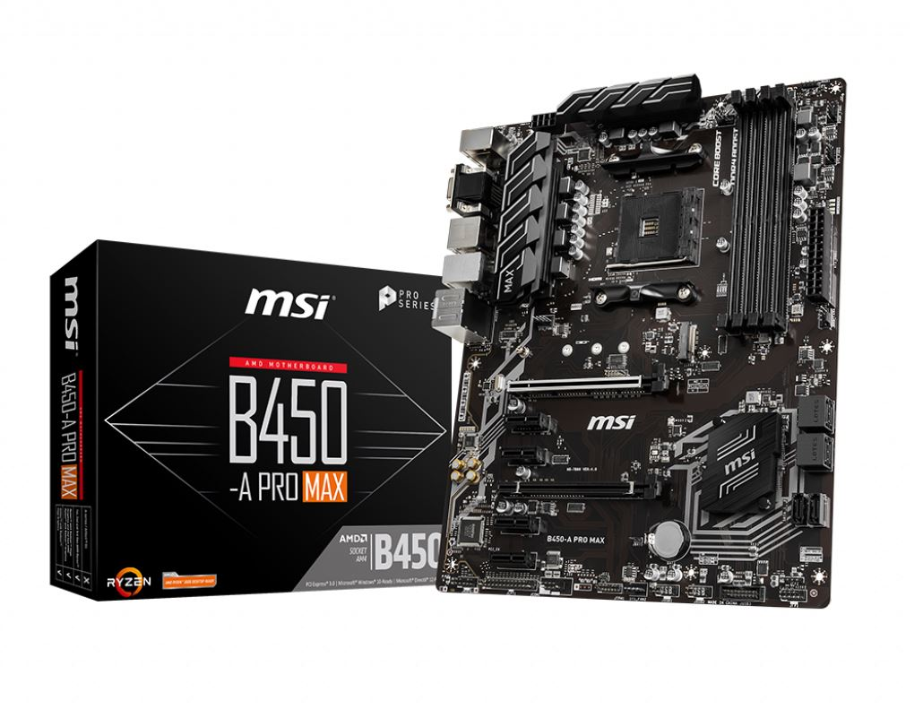 MSI, B450-A, PRO-MAX, AM4, Ryzen, ATX, Motherboard, 4x, DDR4, 6xPCIE, 1xTurbo, M.2, DVI, HDMI, VGA, RAID, GbE, LAN, 6x, SATA3, 6x, USB3.2, 6x,