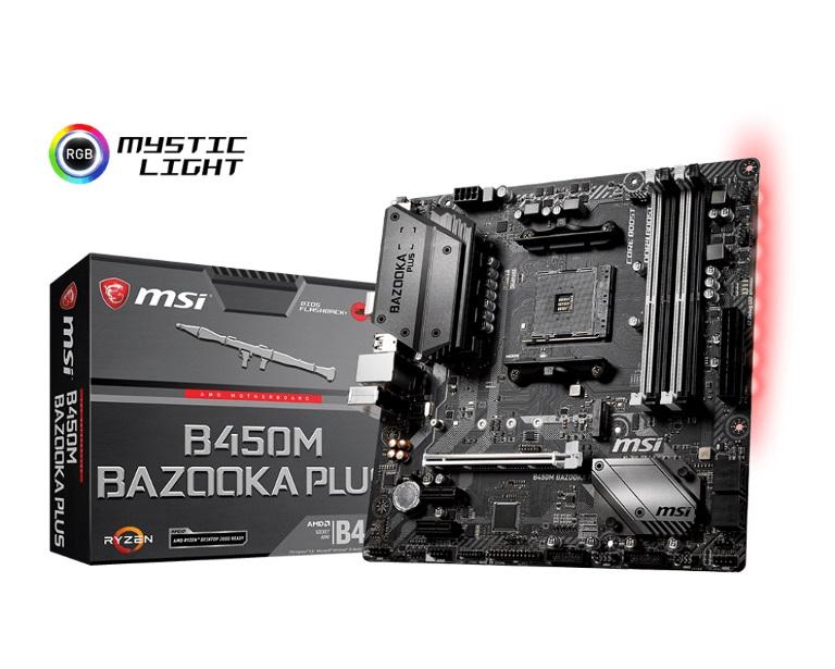 MSI, B450M, BAZOOKA, PLUS, AM4, Ryzen, M-ATX, Motherboard, 4xDDR4, 3xPCIE, 1xM.2, DVI, HDMI, RAID, GbE, LAN, 4xSATA3, 8xUSB3.1,