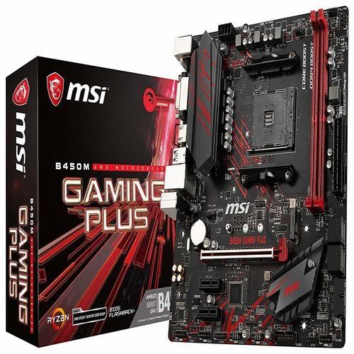 MSI, B450M, GAMING, PLUS, AM4, Ryzen, M-ATX, Motherboard, 2xDDR4, 3xPCIE, 1xM.2, DVI, HDMI, GbE, LAN, 4xSATA3, 1xUSB-C, 7xUSB3.1,