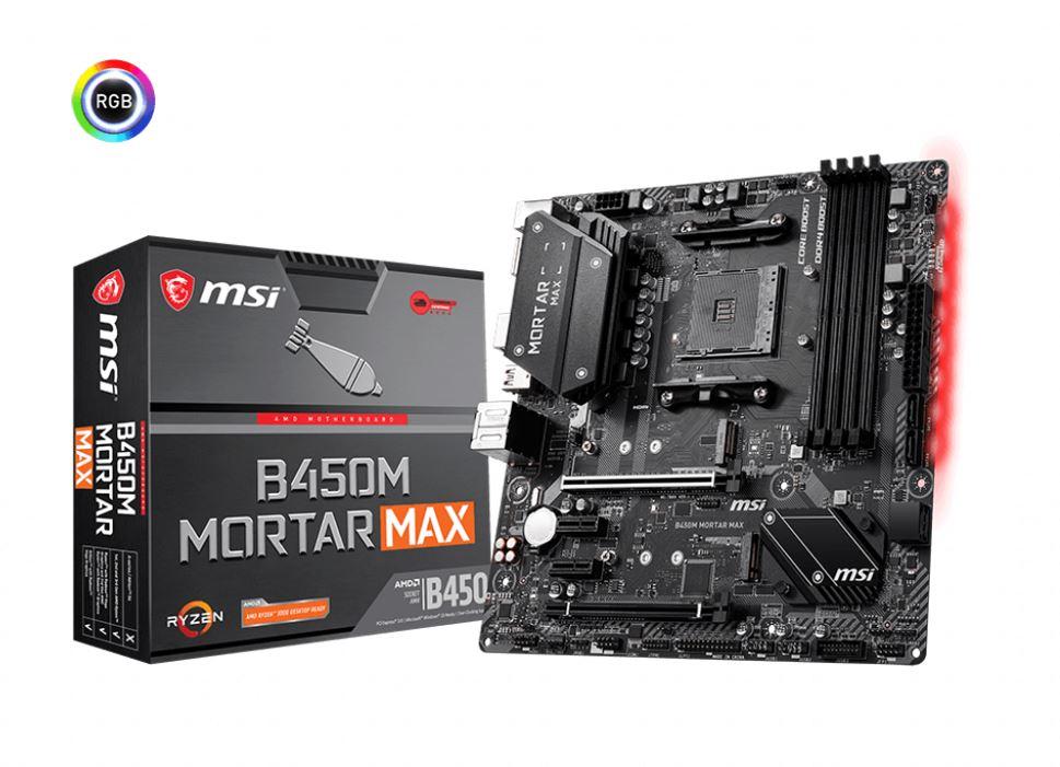 MSI, B450M, MORTAR, MAX, AM4, Ryzen, M-ATX, Motherboard, 4xDDR4, 5xPCIE, 2xM.2, DP, HDMI, LAN, 4xSATAIII, 1xUSB-C, 8xUSB3.2,