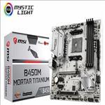 MSI, B450M, MORTAR, TITANIUM, AM4, Ryzen, M-ATX, Motherboard, 4xDDR4, 4xPCIE, 2xM.2, DP, HDMI, GbE, LAN, 4xSATA3, 1xUSB-C, 7xUSB3.1,