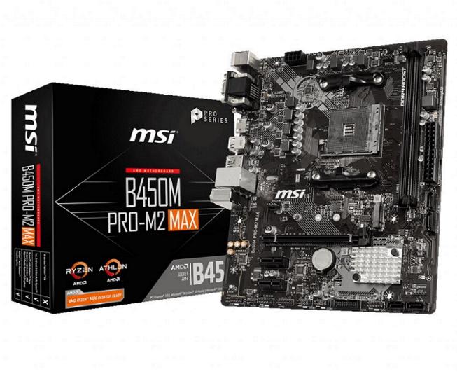 MSI, B450M, PRO-M2, MAX, AMD, M-ATX, Motherboard, AM4, Ryzen, 2xDDR4, 3xPCIE, 1xM.2, 6xUSB3.2, 6xUSB2.0, 1xDVI-D, 1xVGA, 1xHDMI,