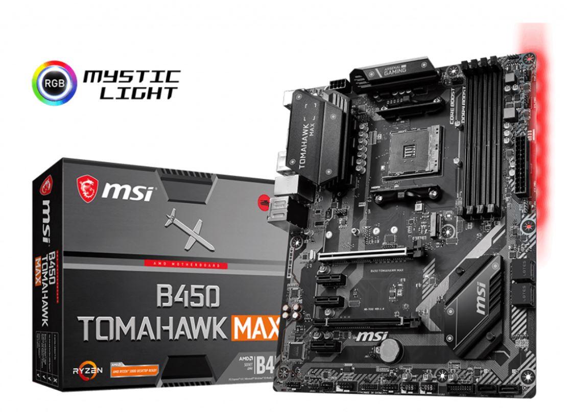 MSI, B450, TOMAHAWK, MAX, AM4, Ryzen, ATX, Motherboard, 4xDDR4, 5xPCIE, 1xM.2, DVI, HDMI, RAID, LAN, 6xSATAIII, 1xUSB-C, 6xUSB3.2, 2xUSB3.,