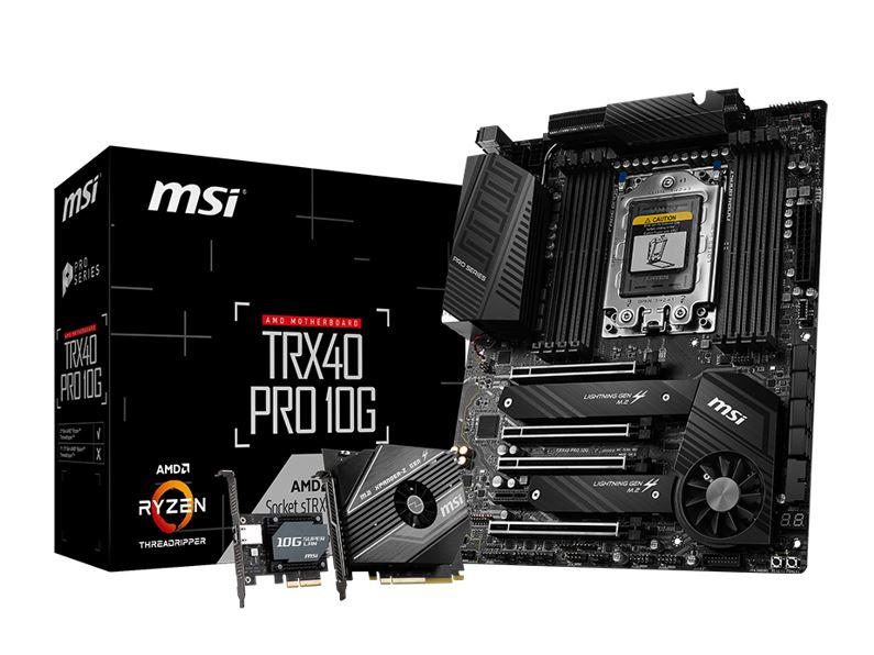 New, MSI, TRX40, PRO10G, ATX, MB, TR4, AMD, ThreadRipper, 3, 8xDDR4, 5xPCIe, 2xM.2, RAID, 2xIntel, GbE, LAN, WiIFi, BT, CF/SLI, 13xUSB3.2, 4x,