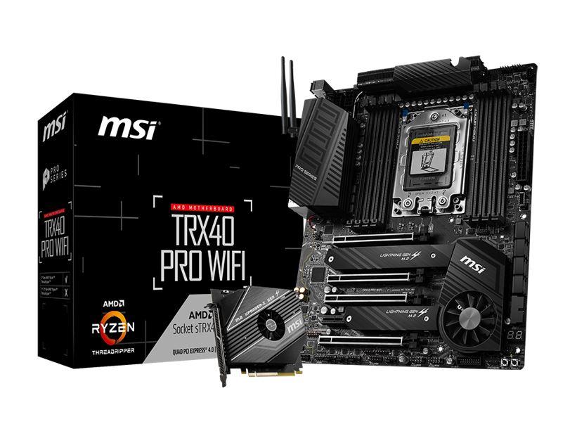 New, MSI, TRX40, PRO, WIFI, ATX, MB, TR4, AMD, ThreadRipper, 2, 8xDDR4, 5xPCIe, 2xM.2, RAID, 2xIntel, GbE, LAN, WiIFi, BT, CF/SLI, 13xUSB3.2,
