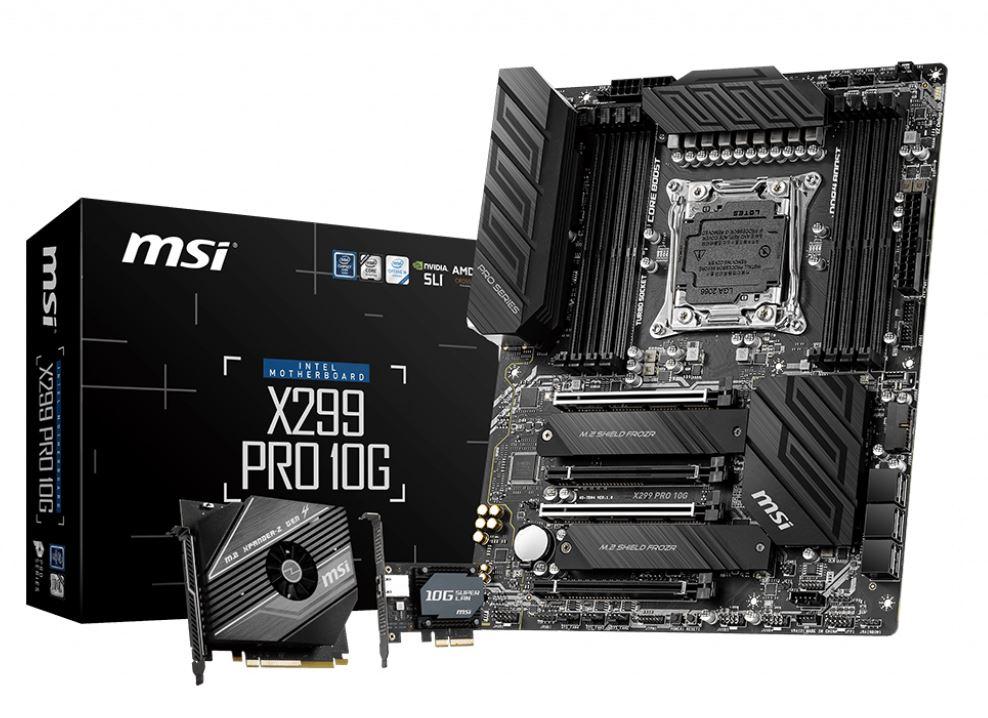 MSI, X299, PRO10G, ATX, MB, X-series, LGA2066, 8xDDR4, 4xPCI-E, 2xM.2, Turbo, 6xSATA3, 10xUSB3.2, Type-C, 8xUSB2.0, RAID, TPM, Dual, LAN,