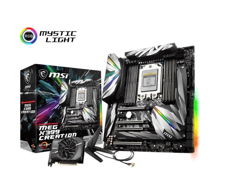 MSI, X399, Creation, AMD, E-ATX, Motherboard, -, TR4, Ryzen, 8xDDR4, 5xPCI-E, 3xM.2, SLI/CF, 2xTypeC, 13xUSB3.1, 4xUSB2.0, TPM, RGB,