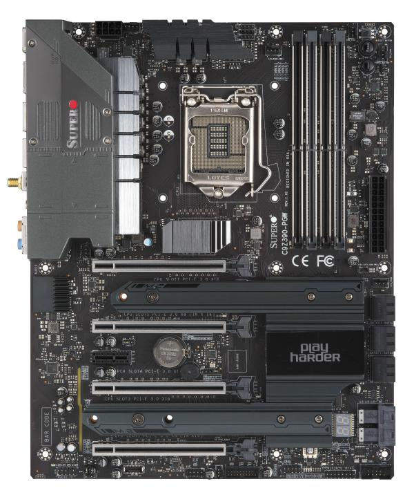 SuperMicro, C9Z390-PGW, Gaming, Motherboard, 8th/9th, Gen, Core, I9/i7/i5, LGA1151, Z390, 4, x, DIMM, M.2, 4, x, PCiE, x, 16, 3, Year,