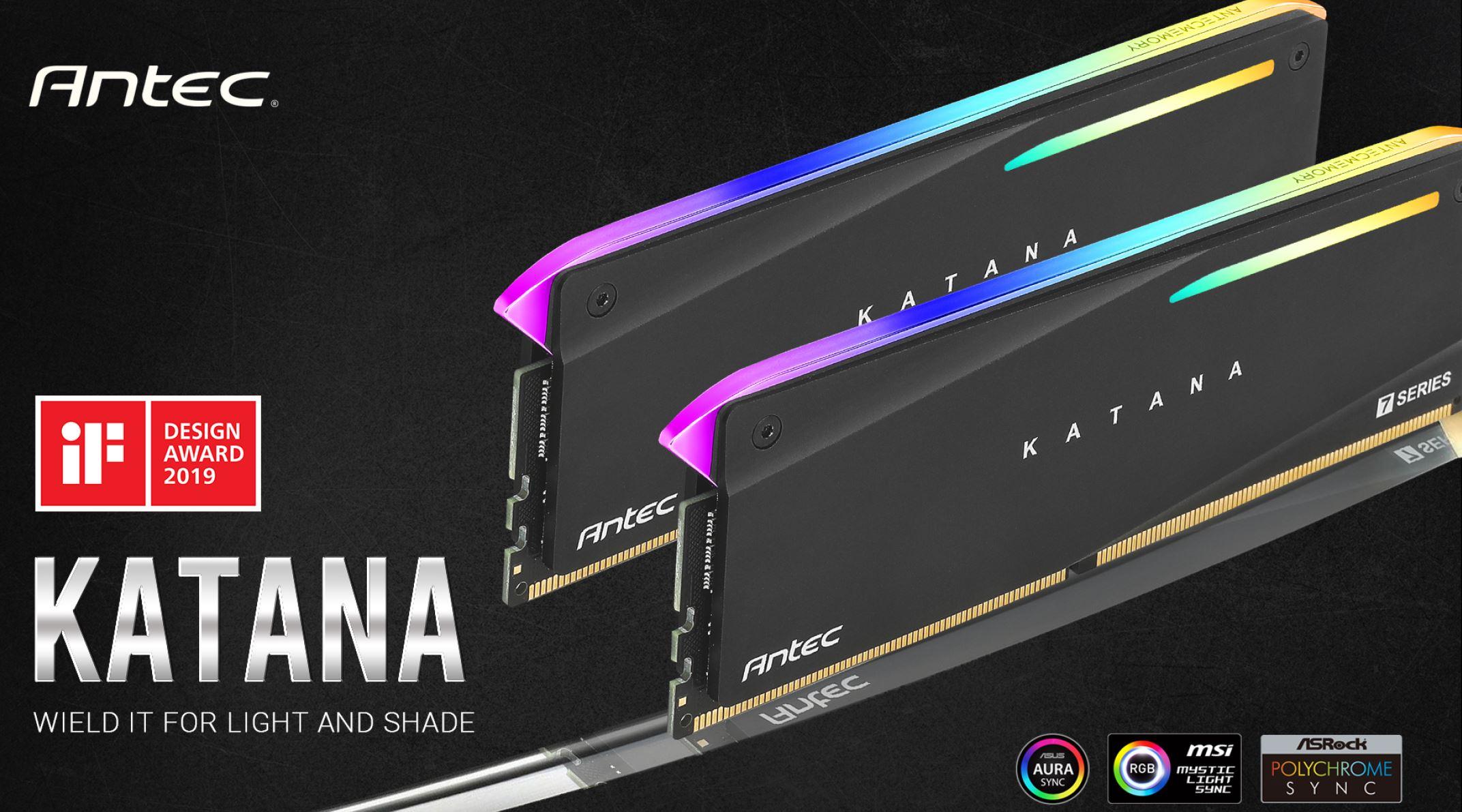 Antec, Katana, RGB, 16GB, (2x8GB), DDR4, 3200MHz, C16, 16-18-18-38, PC4-25600, 1.35V, Desktop, Gaming, Memory,