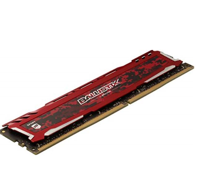 Crucial, Ballistix, Sport, LT, 8GB, (2x4GB), DDR4, UDIMM, 2400MHz, CL16, 16-16-16, Gaming, Memory, for, Desktop, PC, Red, Color,