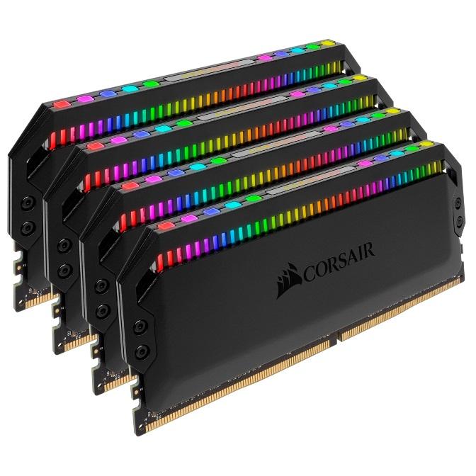 Corsair, Dominator, Platinum, RGB, 64GB, (4x16GB), DDR4, 3600MHz, CL18, DIMM, Unbuffered, 18-19-19-39, XMP, 2.0, Black, Heatspreaders, 1,