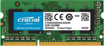 Crucial, DDR3L, SODIMM, PC12800-4GB, 1600Mhz, 512x8, CL11, Single, Ranked, 1.35V/1.5V, Notebook, Memory, Retail, Pack, [CT51264BF160B,