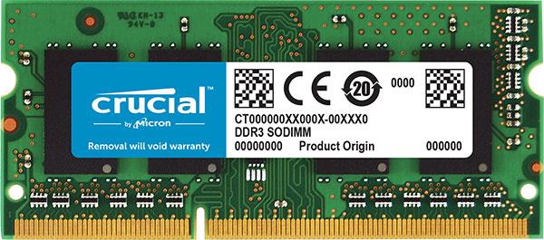 Crucial, DDR3, 8GB, 1600Mhz, (PC-12800), CL11, Unbuffered, Non-ECC, SODIMM, 204pin, [CT102464BF160B],